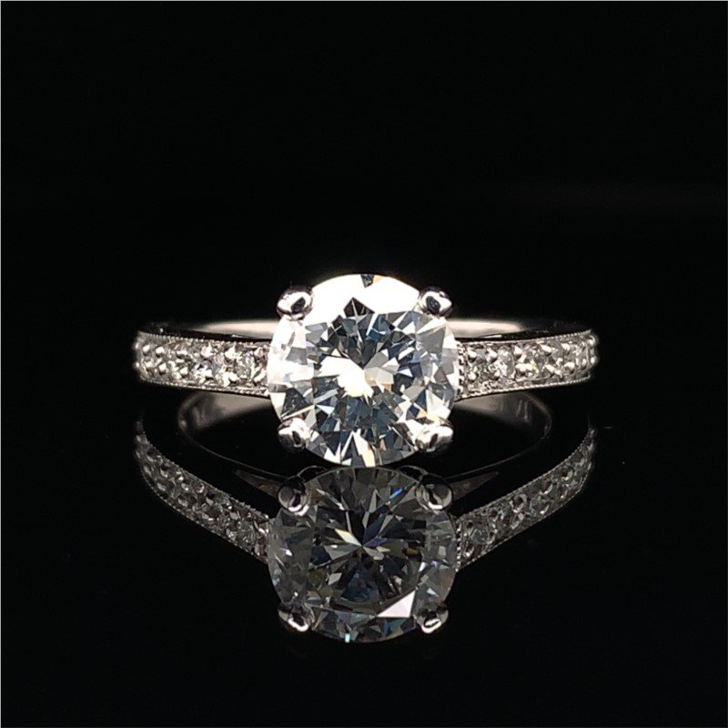 Perry's Estate Collection GIA 1.22 Carat Round Brilliant Cut Diamond Engagement Ring in Platinum