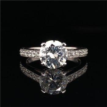 GIA 1.22 Carat Round Brilliant Cut Diamond Engagement Ring in Platinum
