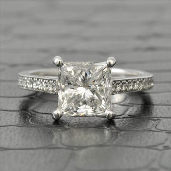 2.51 Carat Princess Cut Diamond Engagement Ring in Platinum