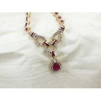 Ruby and Diamond Drop Necklace in Yellow Gold