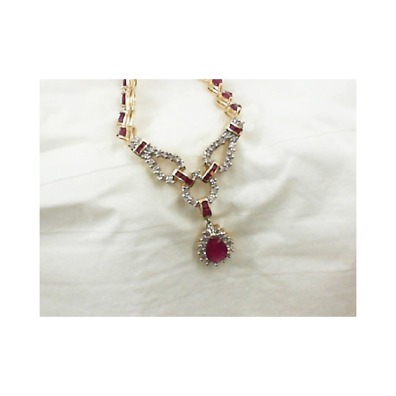 Perry's Estate Collection Ruby and Diamond Drop Necklace in Yellow Gold