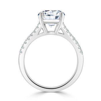 Semi Mount for Round Diamond in White Gold