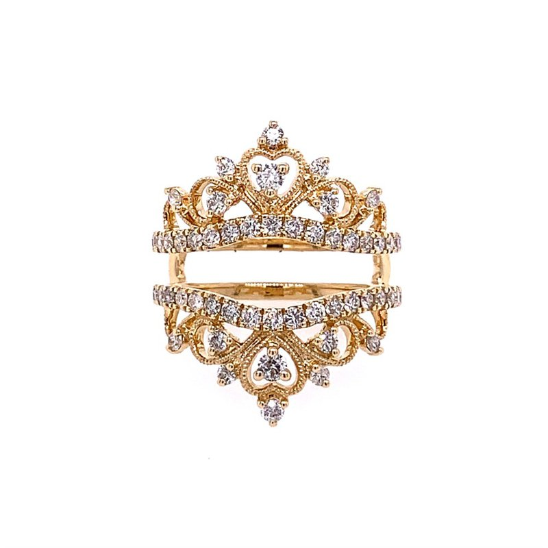 Royal Jewelry Yellow Gold Tiara Style Ring Guard