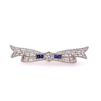 Art Deco Diamond & Sapphire Bow Pin