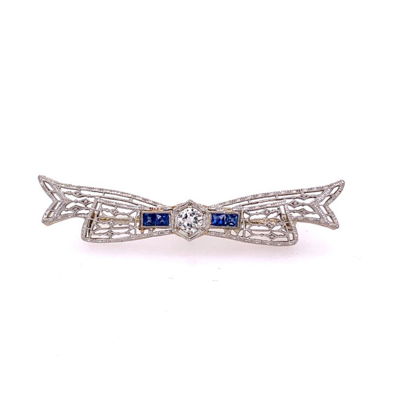 Perry's Estate Collection Art Deco Diamond & Sapphire Bow Pin