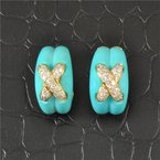"""Perry's Estate Collection Carved Turquoise and Diamond """"X"""" Earrings in Yellow Gold"""