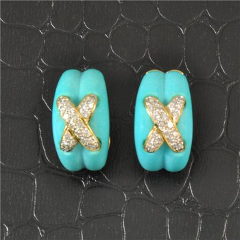 """Carved Turquoise and Diamond """"X"""" Earrings in Yellow Gold"""