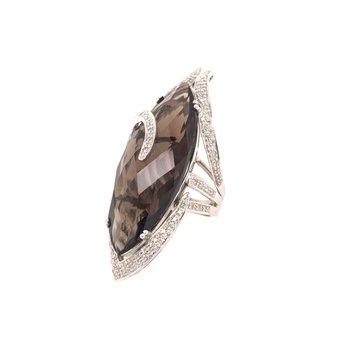 Smoky Quartz and Diamond Ring in White Gold