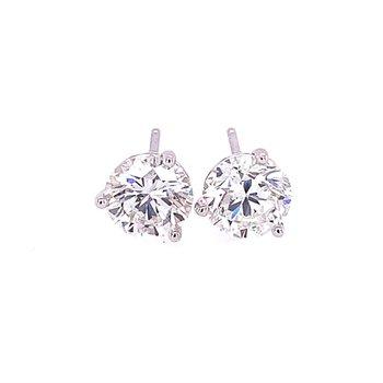2.10 CTW Diamond Stud Earrings in White Gol