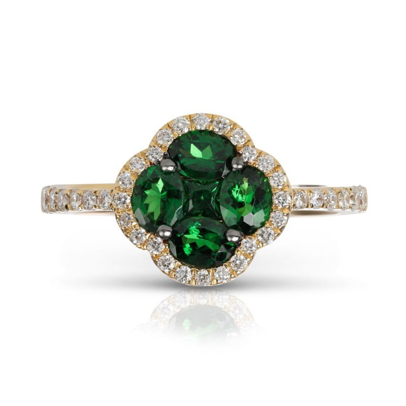 Marco Moore Tsavorite Garnet and Diamond Ring in Yellow Gold
