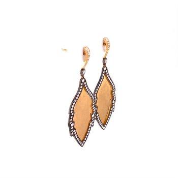 Beverley K Leaf Earrings in Yellow Gold