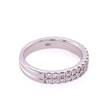 Double Row Diamond Band in White Gold