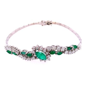 Flexible Emerald and Diamond Bracelet in 18k White Gold