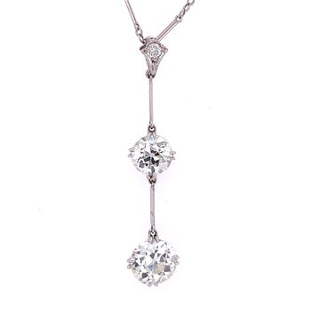 Antique 2.45 CTW Three Stone Old European Cut Diamond Drop Pendant in Platinum