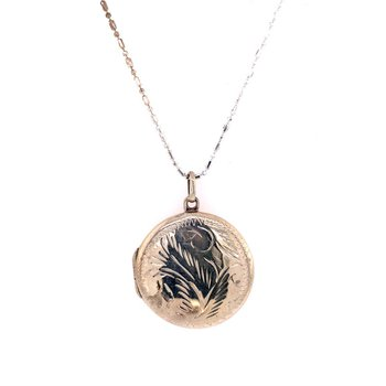 Sterling Silver Foliate Style Round Locket