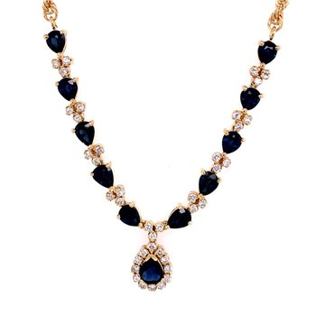 Sapphire and Diamond Drop Necklace in Yellow Gold
