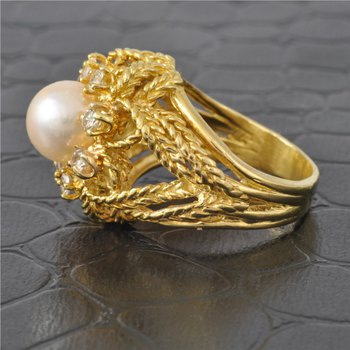Cultured Pearl and Diamond Ring in Textured Yellow Gold