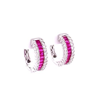 Ruby and Diamond Hoop Earrings in White Gold