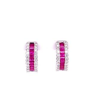 Ruby and Diamond Hoop Earrings in White Gold