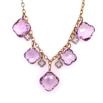 Amethyst Quatrefoil and Diamond Necklace in Yellow Gold