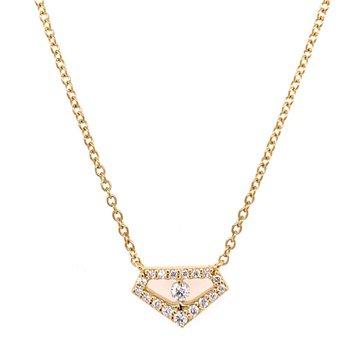 Geometric Diamond Necklace in 18k Gold