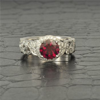 Rhodolite Garnet and Diamond Ring in White Gold