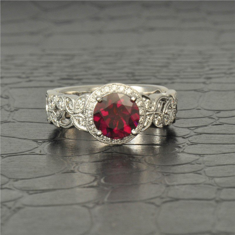 Perry's Estate Collection Rhodolite Garnet and Diamond Ring in White Gold