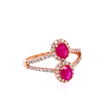 Openwork Ruby and Diamond Ring in Rose Gold