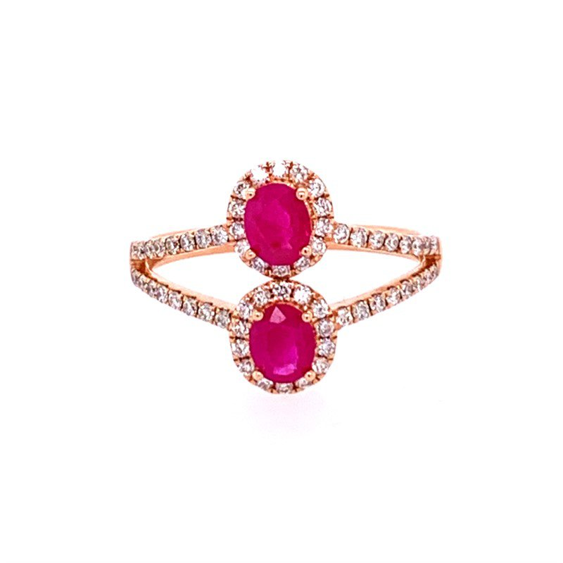 Royal Jewelry Openwork Ruby and Diamond Ring in Rose Gold