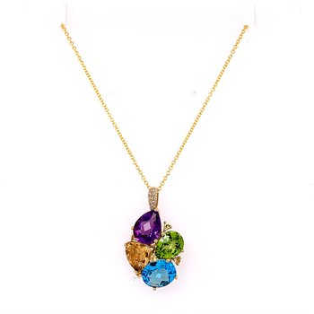 Multi Gem Pendant in Yellow Gold