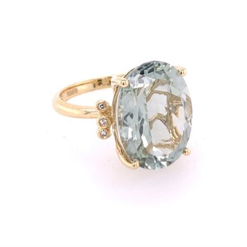 Green Amethyst and Diamond Ring in Yellow Gold
