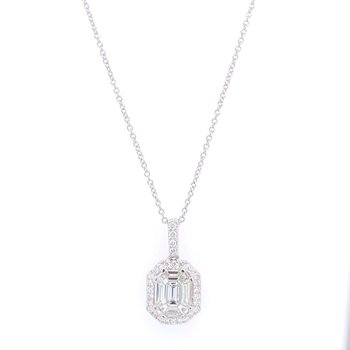 Emerald Cut Diamond Pendant in White Gold