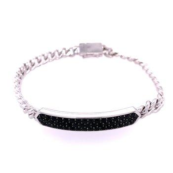 Black Spinel Bracelet in Sterling Silver