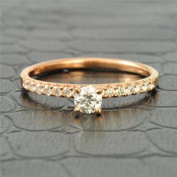 Petite Diamond Engagement Ring in Rose Gold