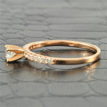Petite Diamond Engagement Ring in Rose Gold