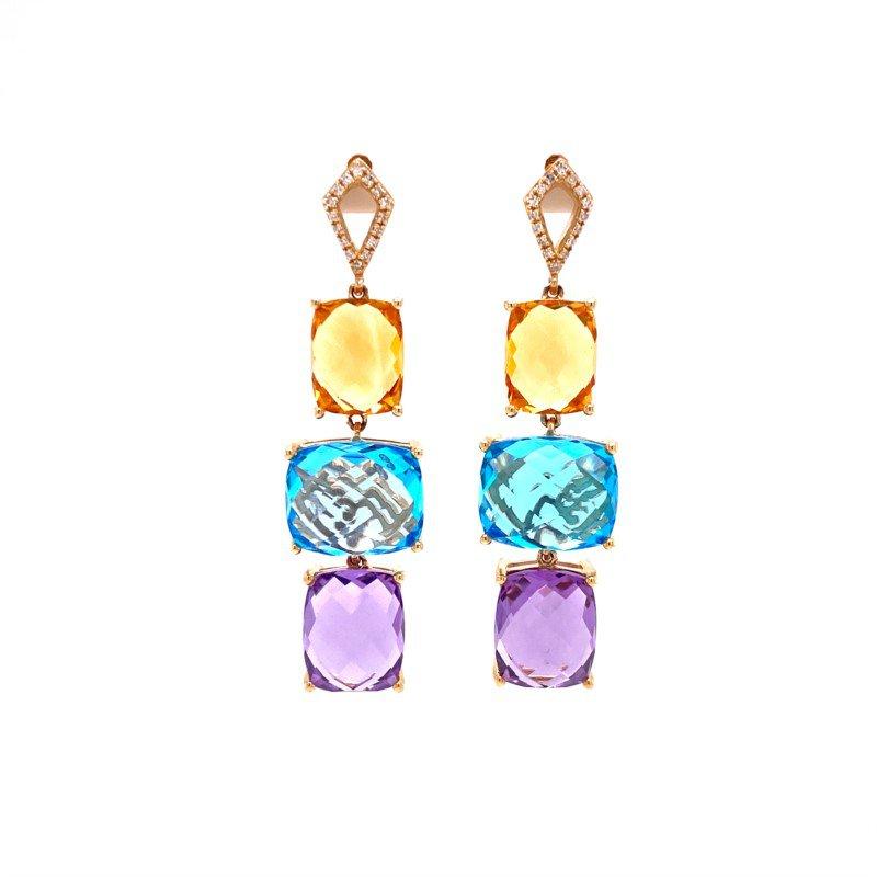 Effy Effy Multi Gemstone Dangle Earrings in Yellow Gold