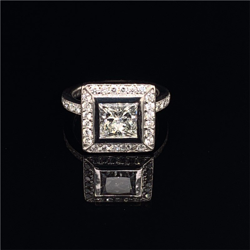 Perry's Estate Collection 1.31 Carat H-VS1 Princess Cut Diamond Halo Engagement Ring in Platinum