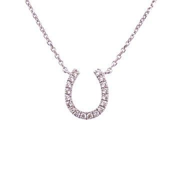 Diamond Horseshoe Necklace in White Gold