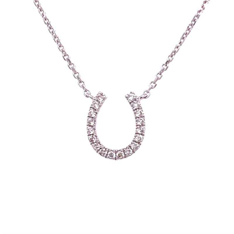 Royal Jewelry Diamond Horseshoe Necklace in White Gold