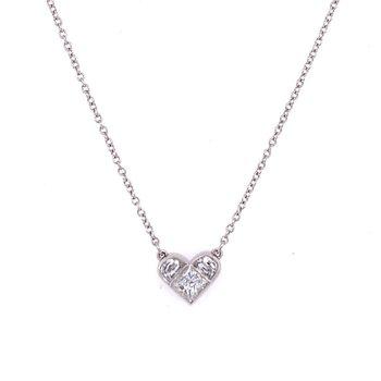 Heart Shaped Diamond Pendant in Platinum