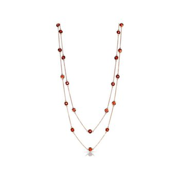 Garnet Station Necklace in Rose Gold