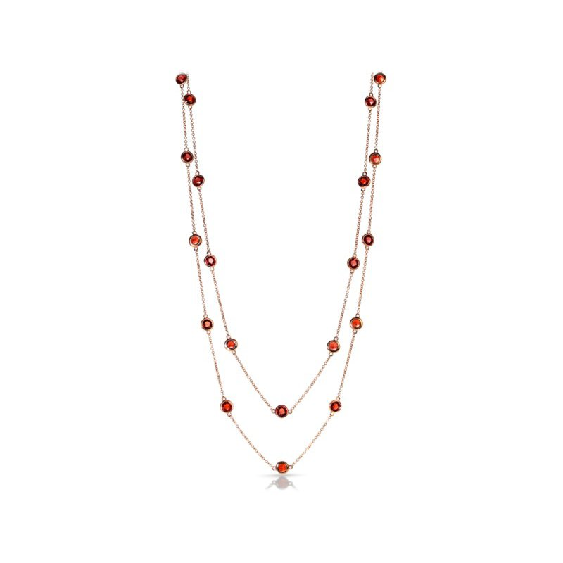 Marco Moore Garnet Station Necklace in Rose Gold
