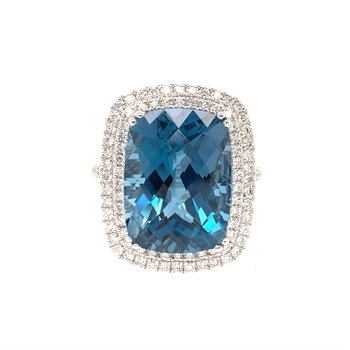 11.50 Carat Blue Topaz and Diamond Ring in White Gold