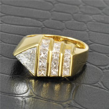 Contemporary Channel Set Diamond Ring in 18K Yellow Gold