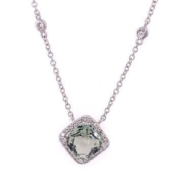"16"" Green Amethyst & Diamond Necklace in 18k White Gold"