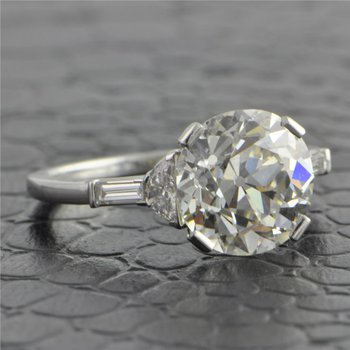 4.34 Carat Old European Cut Diamond Ring in Platinum