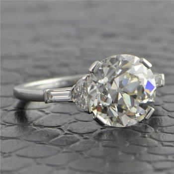 4.34 Carat Old European Cut Diamond Ring in Platinum