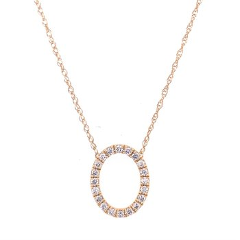 Open Oval Diamond Necklace in Yellow Gold