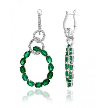 Emerald and Diamond Drop Earrings in 18k White Gold