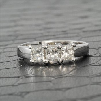 Three Across Princess Cut Diamond Engagement Ring in White Gold